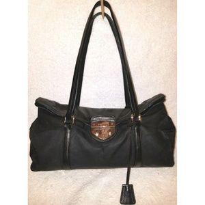 Black leather and nylon hobo handbag key lock